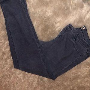 Navy blue low-rise skinny corduroy pant